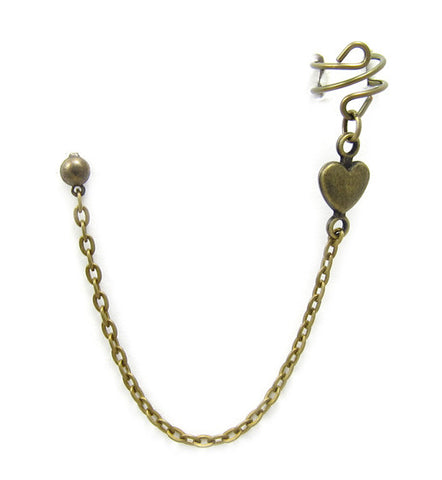 Bronze Heart Connector Long Chain Cuff Earring