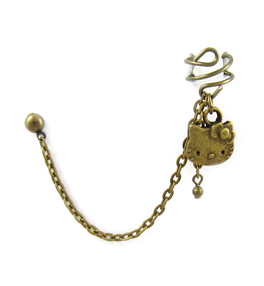Bronze Single Hello Kitty Cuff Earring