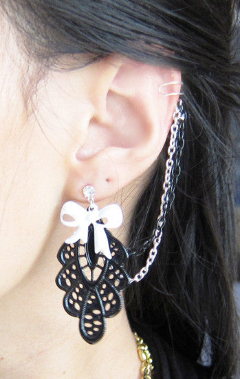 Bow Embroidery Double Chain Cuff Earring