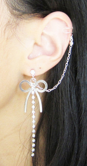 Bow Rhinestone Dangle Chain Cuff Earring