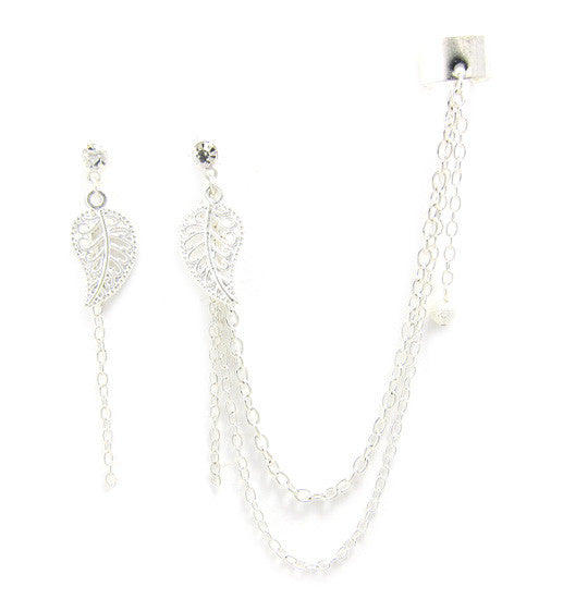 Silver Leaf Extra Long Chain Solid Cuff Earring