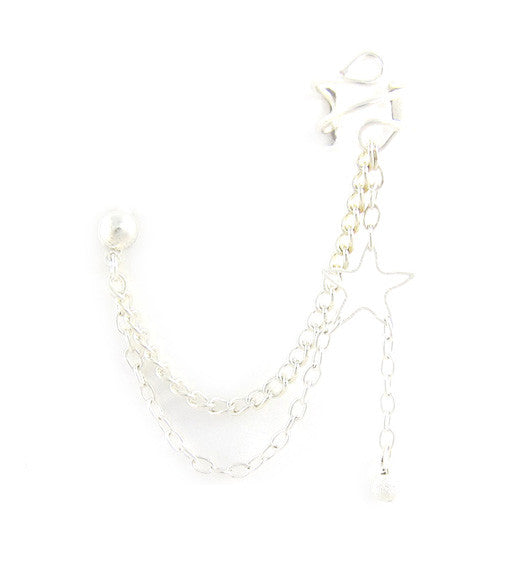 Open Star Stardust Drop Double Chain Cuff Earring