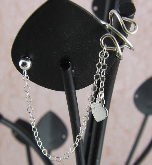 Sterling Silver Small Heart Dangle Cuff Earring