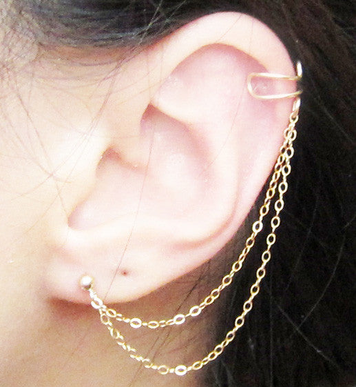 Gold Filled Double Chain Plain Cuff Earring