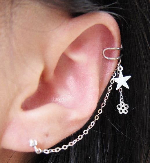 Sterling Silver Star Flower Cuff Earring