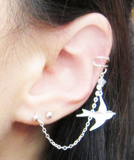 Sterling Silver Crystal Dove Cuff Earring