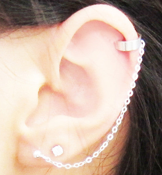 Sterling Silver Solid Band Plain Cuff Earring