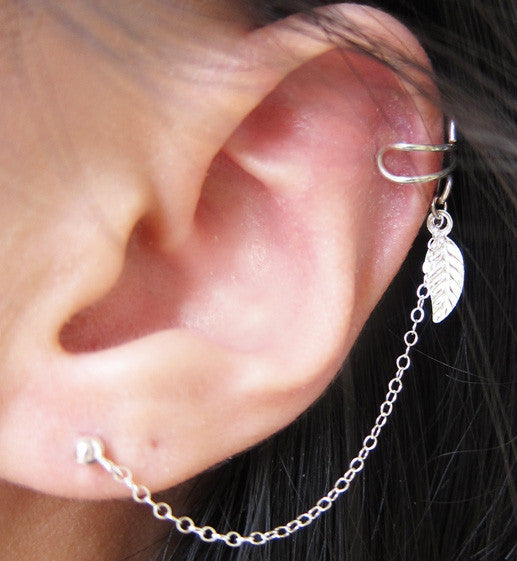 Sterling Silver Single Leaf Cuff Earring