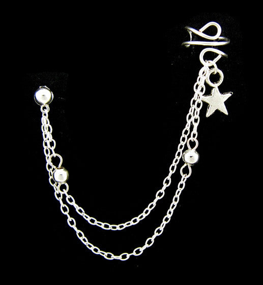 Silver Star Double Link Chain Cuff Earring