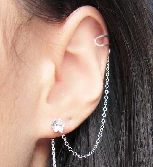 Sterling Silver Flower Threader Cuff Earring