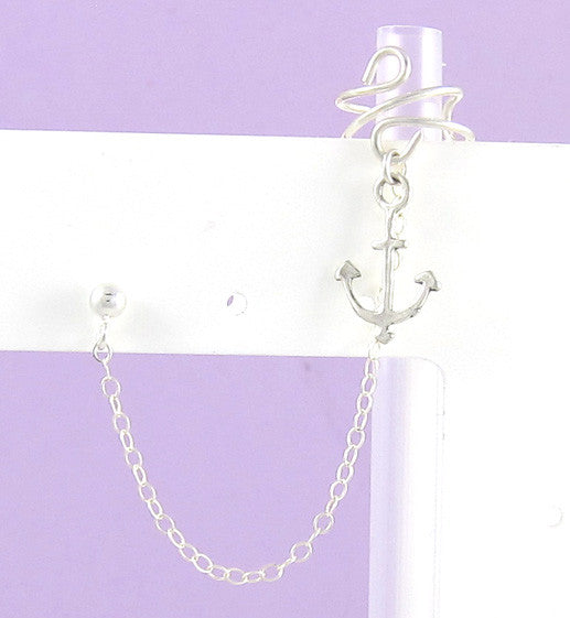 Sterling Silver Single Anchor Cuff Earring