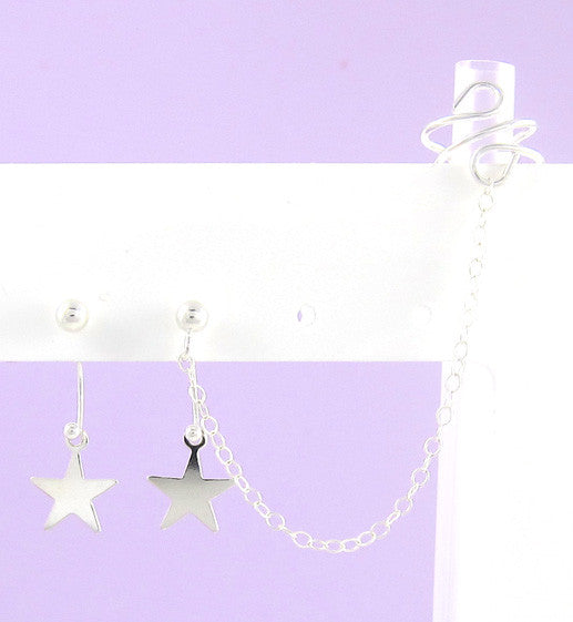 Sterling Silver Floating Star Cuff Earring