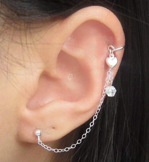 Sterling Silver Heart and Crystal Thin Cuff Earring