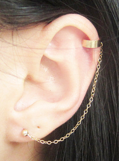 Gold Filled Plain Solid Band Cuff Earring