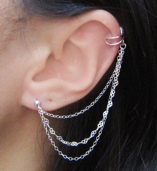 Sterling Silver Cable and Heart Triple Chain Cuff Earring