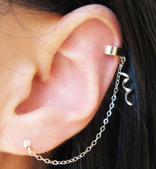 Sterling Silver Swirl Dangle Cuff Earring