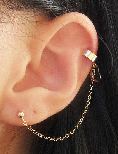 Gold Filled Delicate Heart Dangle Cuff Earring