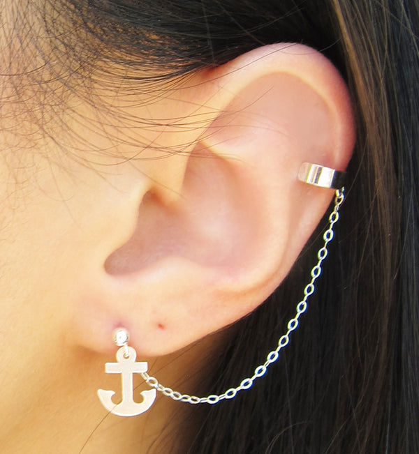 Sterling Silver Anchor Charms Solid Cuff Earring