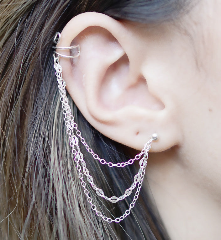 Sterling Silver Triple Chain Cuff Earring