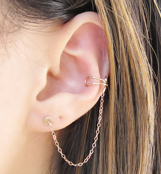 Rose Gold Filled Circle Stud Cuff Earring