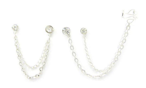 Simple Rhinestone Studs Silver Chains Double Piercing Cuff Earring
