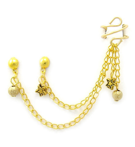 Gold Small Star and Stardust Charms Double Piercing Cuff Earring