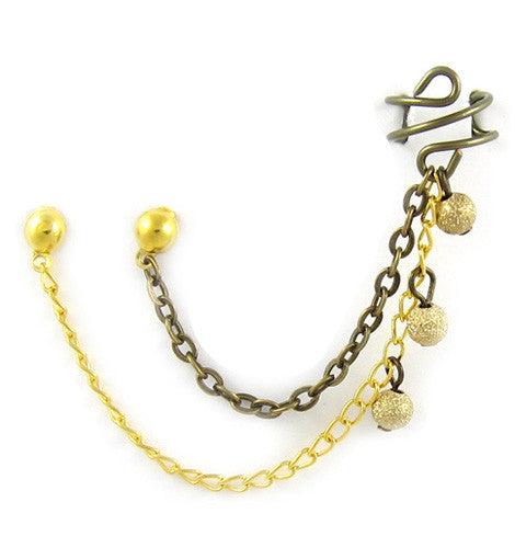 Gold and Bronze Chain Sparkle Stardust Double Piercing Cuff Earring