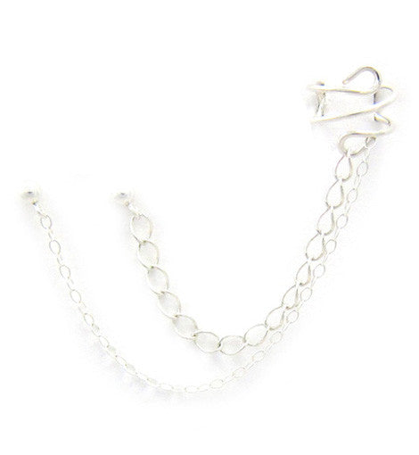Sterling Silver Small Large Contrast Chains Double Piercing Cuff Earring