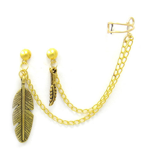 Gold Small and Large Feathers Double Piercing Cuff Earring
