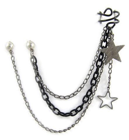 Black Star Single & Double Chain Double Piercing Cuff Earring