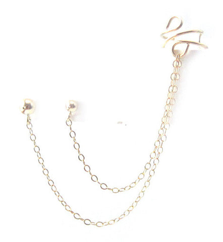 Gold Filled Ball Stud Chain Double Piercing Cuff Earring