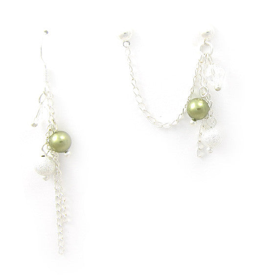 Light Green Stardust Crystal Dangle Cartilage/Double Piercing