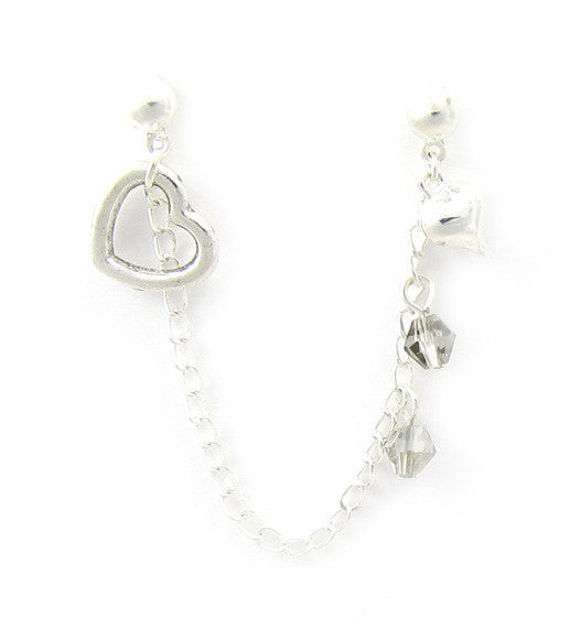 Two Hearts Swarovski Crystals Cartilage/Double Piercing