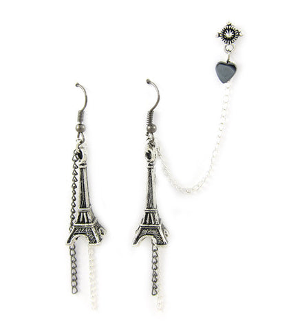 Eiffel Tower Black Silver Chain Heart Double Piercing Earring