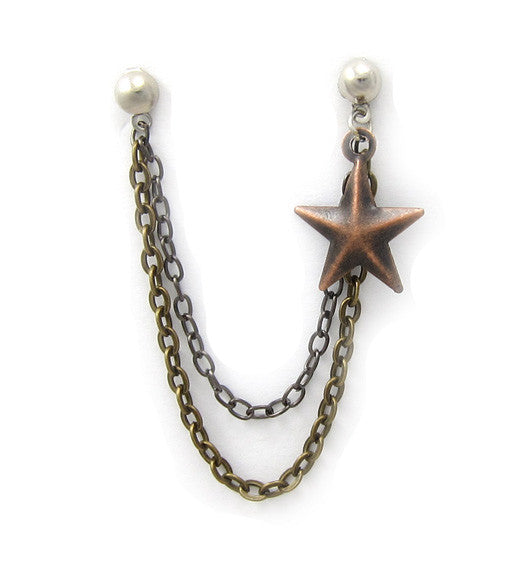 Black Bronze Star Double Chain Cartilage/Double Piercing