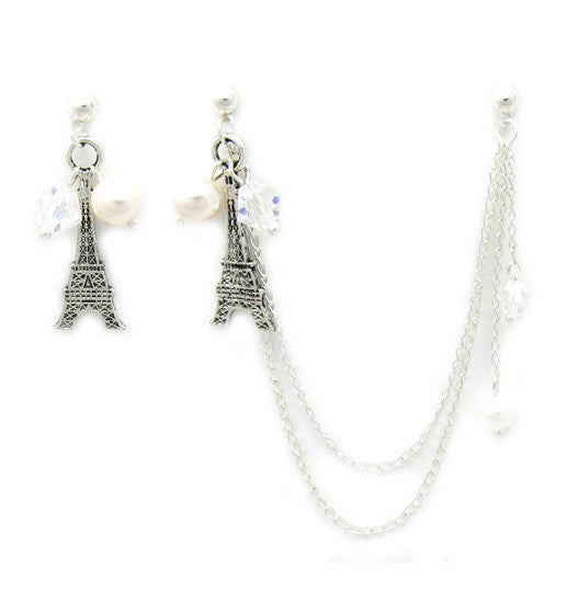 Eiffel Tower Pearl Crystals Extra Long Cartilage/Double Piercing