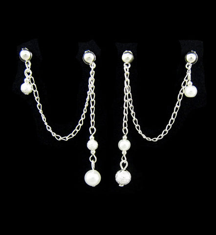Glass Pearl and Stardust Charm Dangle Cartilage Double Piercing