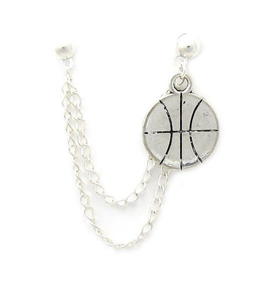 Basketball Silver Double Chain Cartilage/Double Piercing