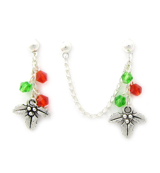 Green Red Swarovski Crystals Mistletoe Cartilage/Double Piercing
