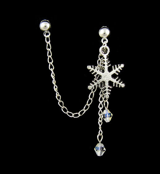 Snowflake Crystal Dangle Cartilage/Double Piercing