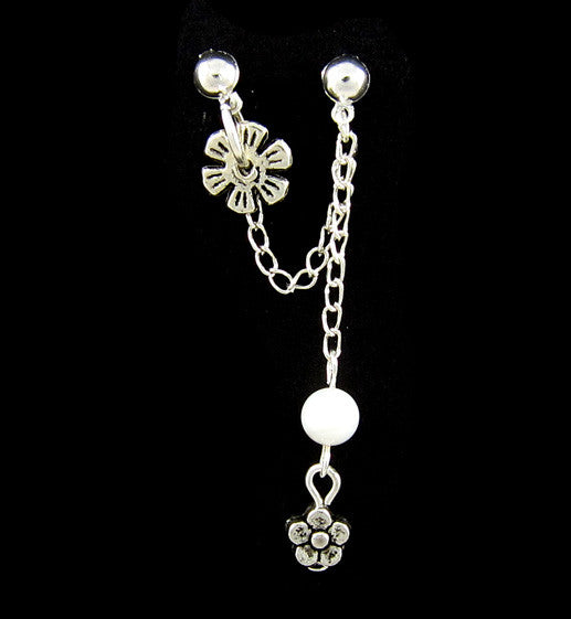 Silver Flower White Bead Charm Double Piercing