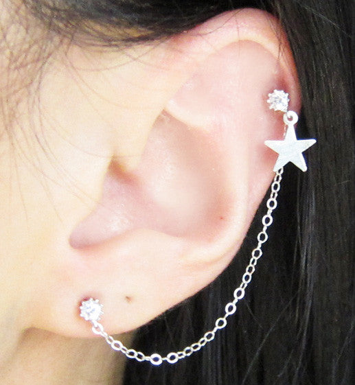 Sterling Silver Star Rhodium-Plated Cubic Zirconia Cartilage Double Piercing