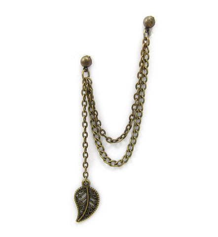 Bronze Leaf Dangle Double Chain Cartilage Double Piercing