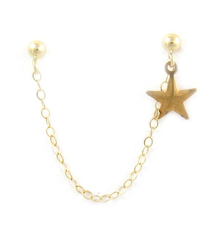 14k Gold Filled Single Star Cartilage Double Piercing