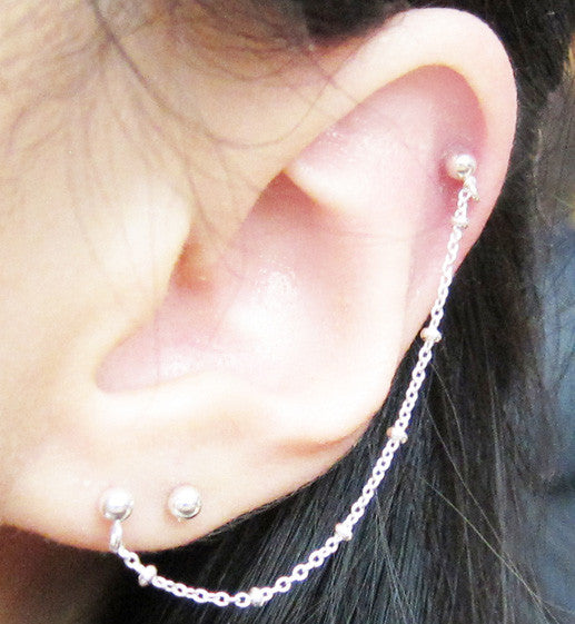 Sterling Silver Pebble Chain Cartilage Double Piercing