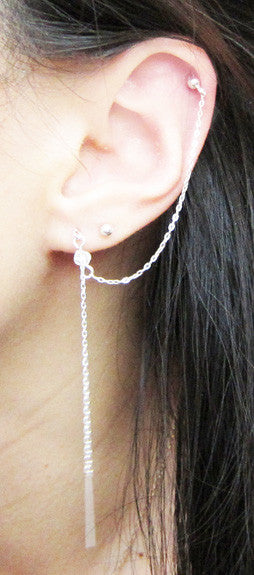 Sterling Silver Small Swarovski Crystal Threader Double Piercing