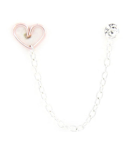 Rose Heart Rhinestone Cartilage Double Piercing