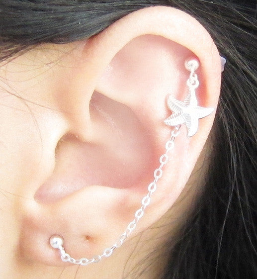 Sterling Silver Single Starfish Cartilage Double Piercing