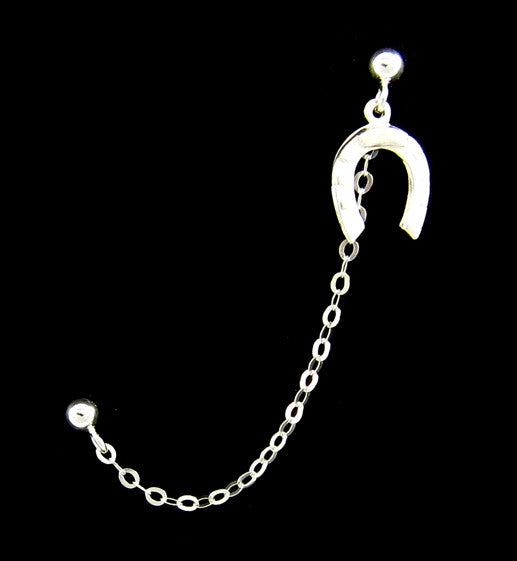 Sterling Silver Single Horse Shoe Cartilage Double Piercing