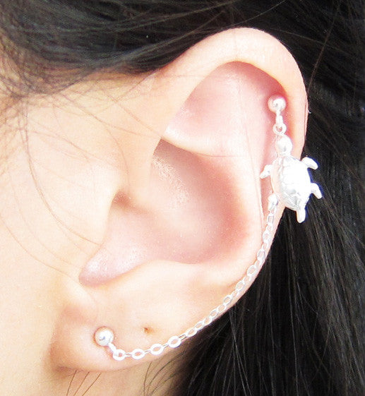 Sterling Silver Single Turtle Cartilage Double Piercing